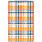 203 orange plaid ID badge