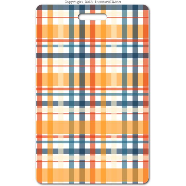 203 orange plaid ID badge