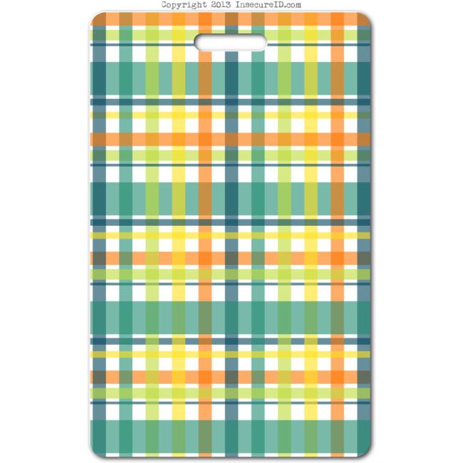 204 green plaid ID badge