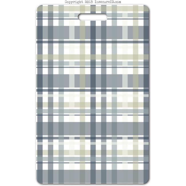 205 grey plaid ID badge